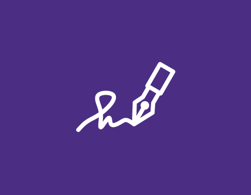 Purple and white email signature icon