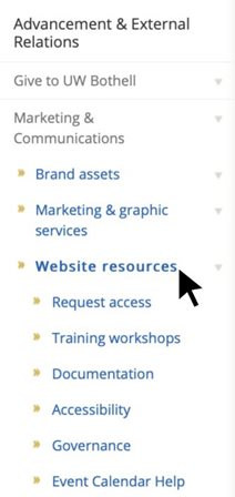 "A screenshot of the side navigation menu with a cursor pointing to the link that says ""Website resources"""