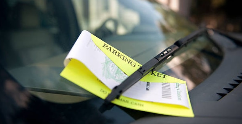 Photo of parking ticket on car's windshield. Click on hyperlinked word above to go to citations page