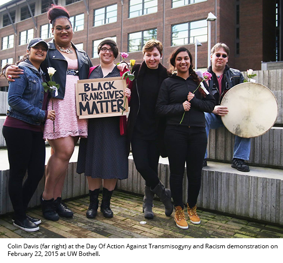 Davis with drum at the Day Of Action Against Transmisogyny and Racism demonstration
