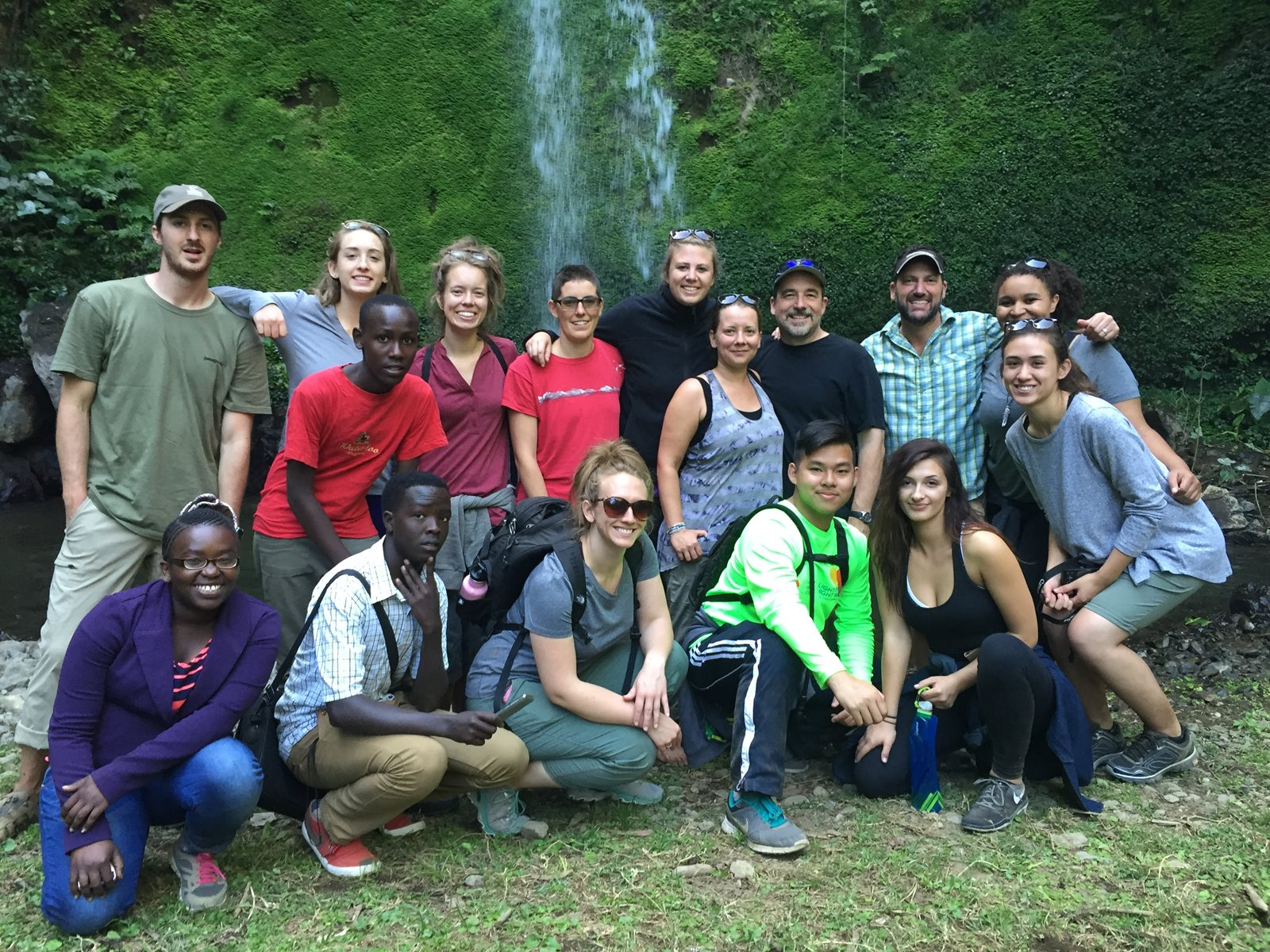 Exploration Seminar participants at waterfall