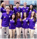 orientation leaders on the plaza in front of discovery hall