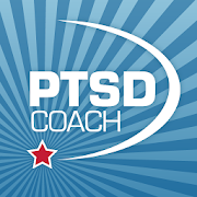 icon of the word PTSD Coach with a crecent object around the words and a star at the tip of the crecent object